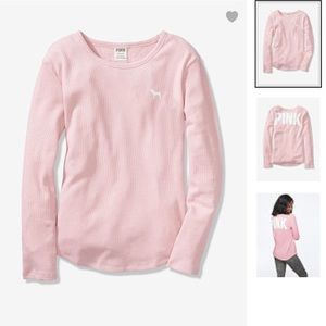PINK- Perfect Long Sleeve Waffle Crew